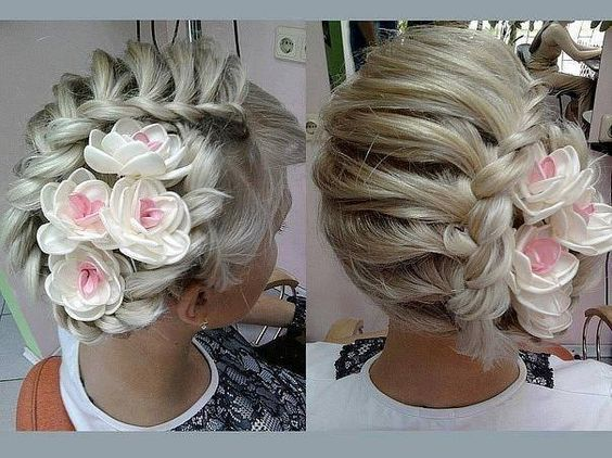 side braid with flower detail