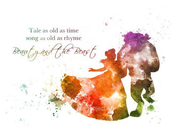 Belle, die schöne und das Biest, Gesellschaftstanz, zitieren ' Geschichte so alt wie die Zeit ' ART PRINT Abbildung, Disney, Prinzessin, Home Decor, Kinderzimmer