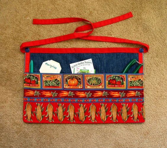 Gardening Apron  Vegetables Seeds  Cotton by BarkRiverBoutique, $9.50