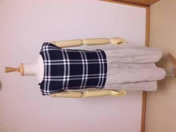 wガーゼとリネンのローウエストワンピースハンドメイド インテリア 雑貨 Handmade tunic ¥4200yen 〆04月27日