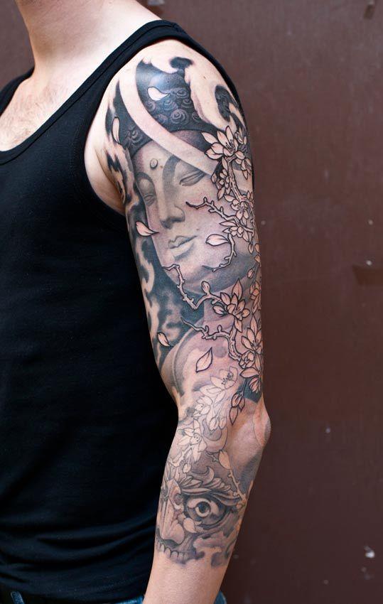 Black & Gray Tattoo   Craftz Berlin   3/4 Sleeve   Buddha + Blossoms + Tibetan Skull + Cloud