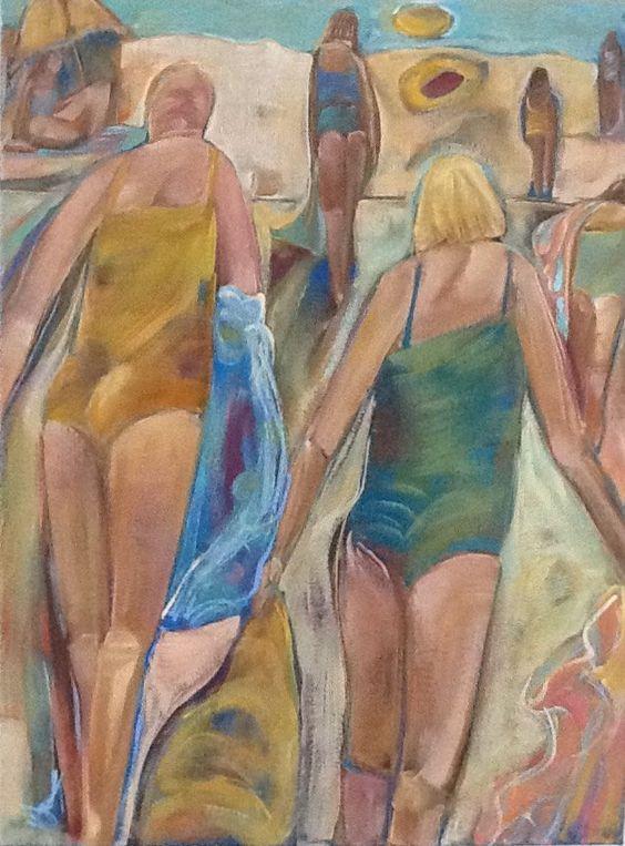 Beach  Original acrylic painting 24x18 Free Shipping by pamsmithartist on Etsy