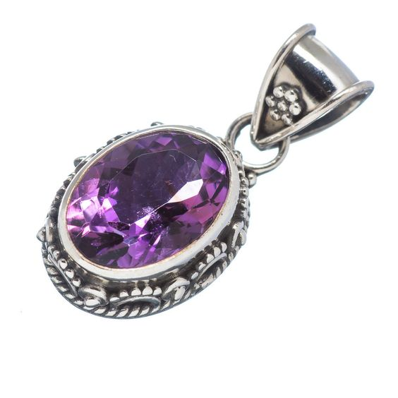 "Faceted Amethyst 925 Sterling Silver Pendant 1 1/8"" PD511041"