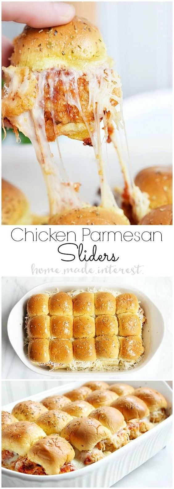 These Chicken Parmesan sliders are an easy recipe that everyone is going to love. Fried chicken tenders, tomato sauce, and lots of mozzarella cheese make this slider recipe a sure win. Whether it is a game day recipe or a father's day recipe you are looking for you can't go wrong with sliders.: