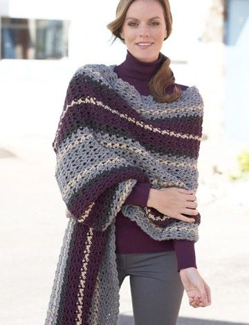 Free Crochet Patterns Using Caron Yarn : Yarnspirations.com - Caron Crochet Afternoon Wrap - Free ...
