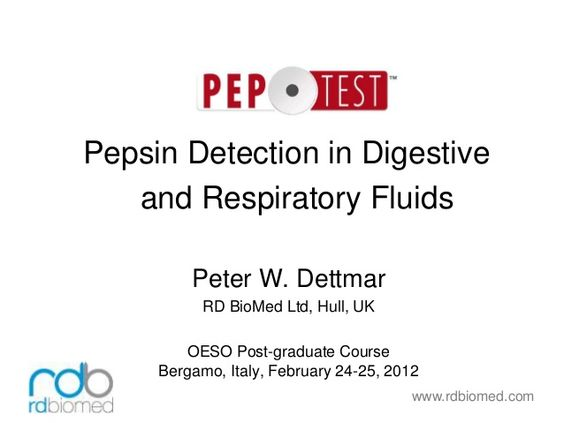 Peptest  - Pepsin detection in digestive and respiratory fluids by Peptest via slideshare