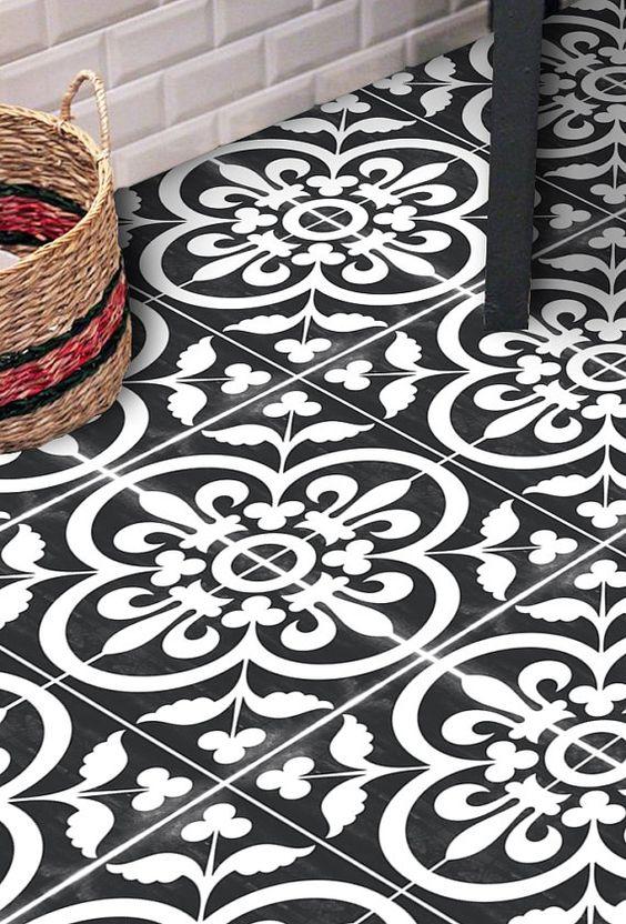 Vinyl vloer tegel Sticker vloer stickers Carreaux Ciment | badkamer ...