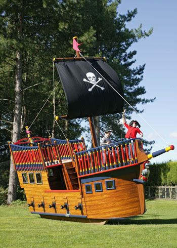 A pirate ship cubby house for a home by the sea rooms - Wooden pirate ship outdoor ...