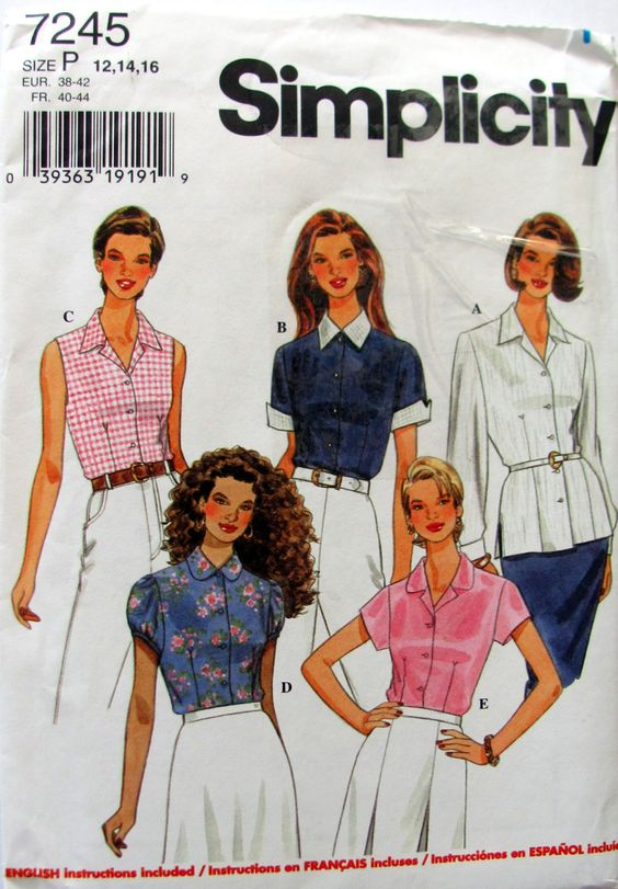 Simplicity 7245,  Ladies Blouse Pattern, 5 Designs  Sizes 12,14 and 16, Uncut, Short Sleeve Pattern, Long Sleeve Blouse,, Cap Sleeve Pattern by OnceUponAnHeirloom on Etsy