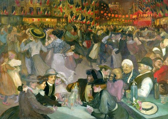 Ball On The 14th July Painting. Théophile Alexandre Steinlen, frequently referred to as just Steinlen (November 10, 1859 – December 13, 1923), was a Swiss-born French Art Nouveau painter and printmaker.