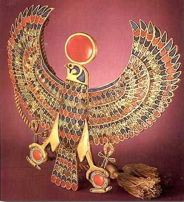 Gold falcon Egyptian pendant