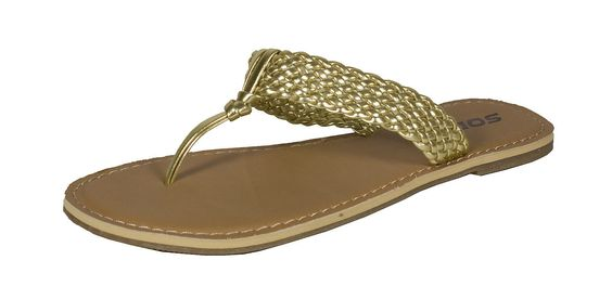 Detail! Soda Women'S Thong Braided Slip On T Sandal In Metallic Gold Leatherette