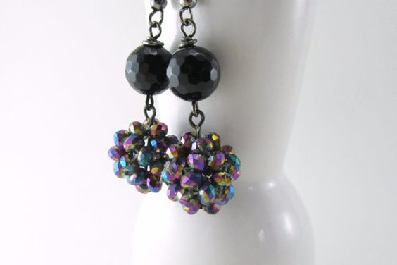 Black Crystal Dangle Earrings Great for Wedding or by theglassbird, $12.00