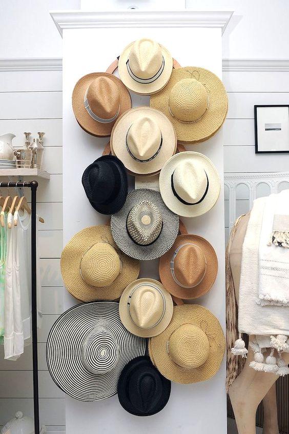 18 Hat Organizing Ideas For Summer // closet & wardrobe storage // large wall wooden hat rack