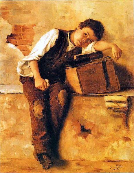 Saudades de Nápoles (1895). Pintura de Bertha Worms. A obra retrata um menino italiano engraxate, figura bastante comum nas ruas de São Paulo na época.