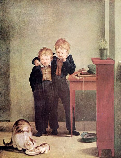 Children With Cats by Georg Friedrich Kersting (1785-1847):