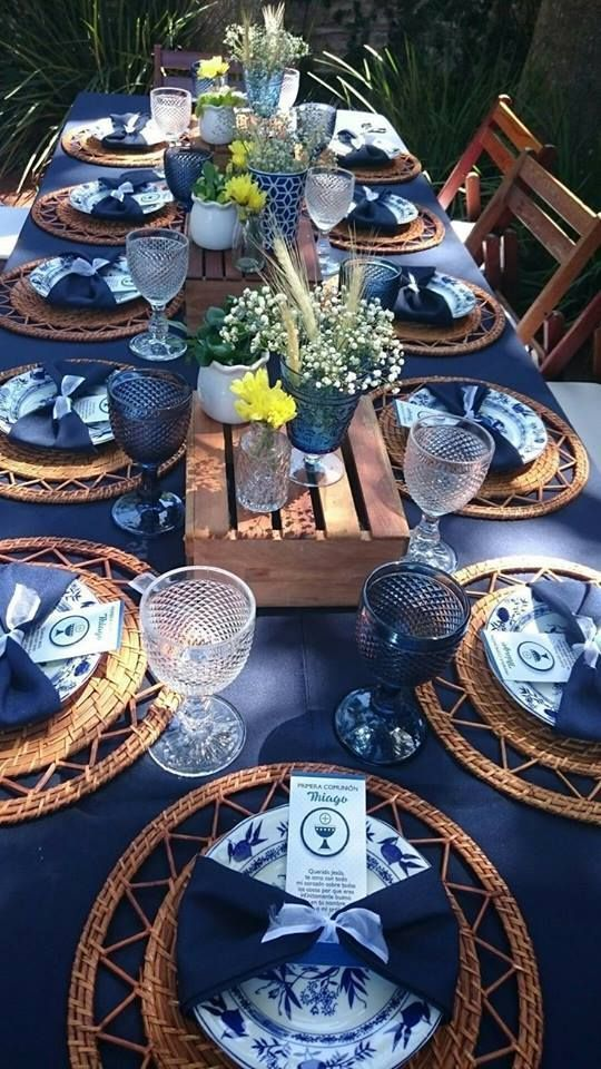 Navy Blue Beautiful For Any Gathering Blue Table Settings Table Decorations Table Settings