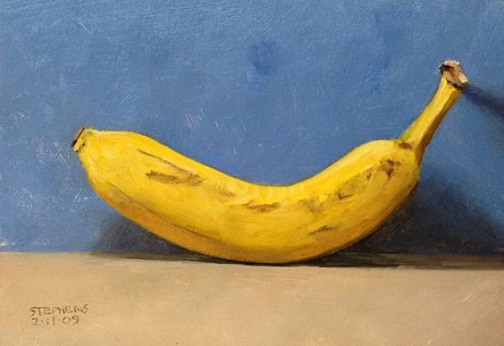 Banana original daily oil painting by Craig by CraigStephensArt, $35.00