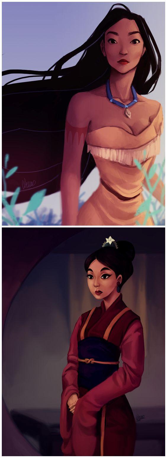 Heroines: Pocahontas & Mulan by Wernope.