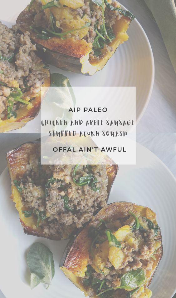 Chicken and Apple Sausage Stuffed Acorn Squash | Enjoying this Journey... via…