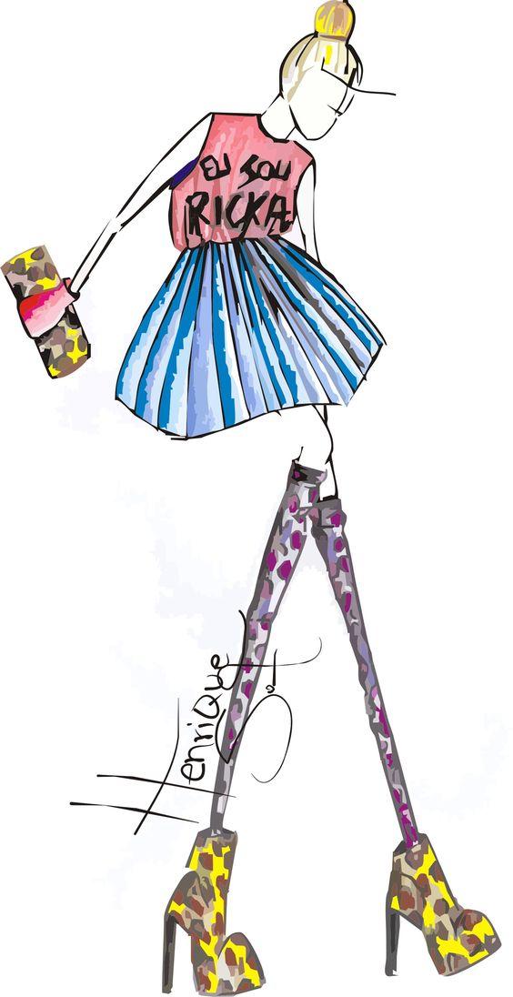 croqui, desenho de moda design fashion