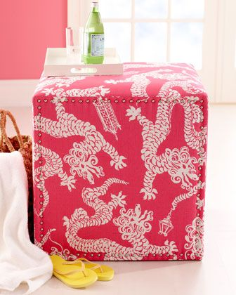 """Candice"" Ottoman by Lilly P. Love the Fu  Dogs and nailheads...plus it's Pink! :)"