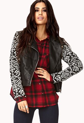 Remixed Faux Leather Jacket | FOREVER 21 - 2031558209