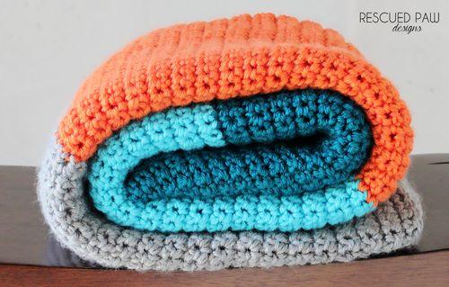 Simple Color Blocked Crochet Blanket Pattern via Rescued Paw Designs