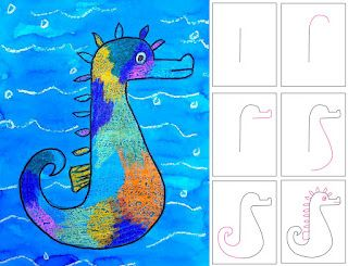 Seahorse drawing, fill with crayons and cover with watercolor paint.