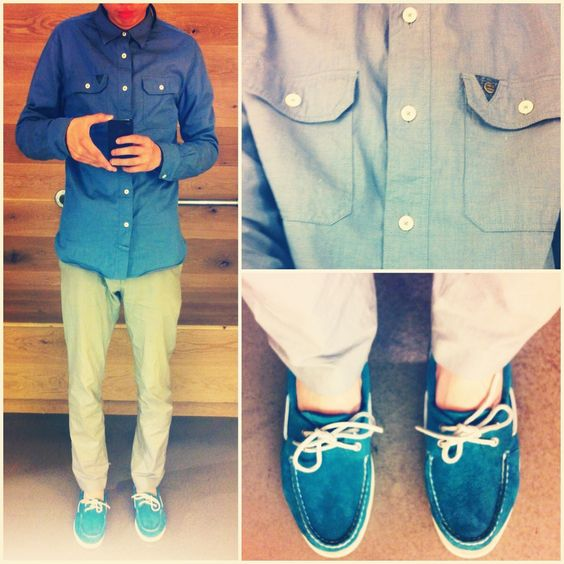 SuperDry Dress Shirt  Grey Khakis  Teal Suede Sperrys Topsider