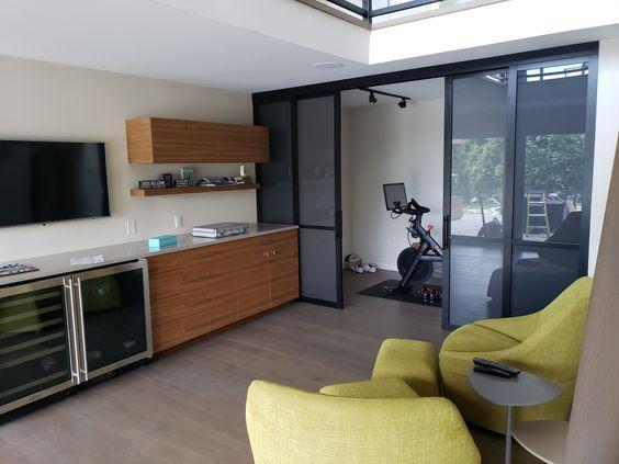 Creating An Exercise Nook In A Small Apartment In 2020 Sliding Door Room Dividers Sliding Doors Interior Door Dividers