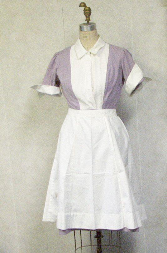 Vintage 1950s diner waitress uniform with apron lavender orchid ...
