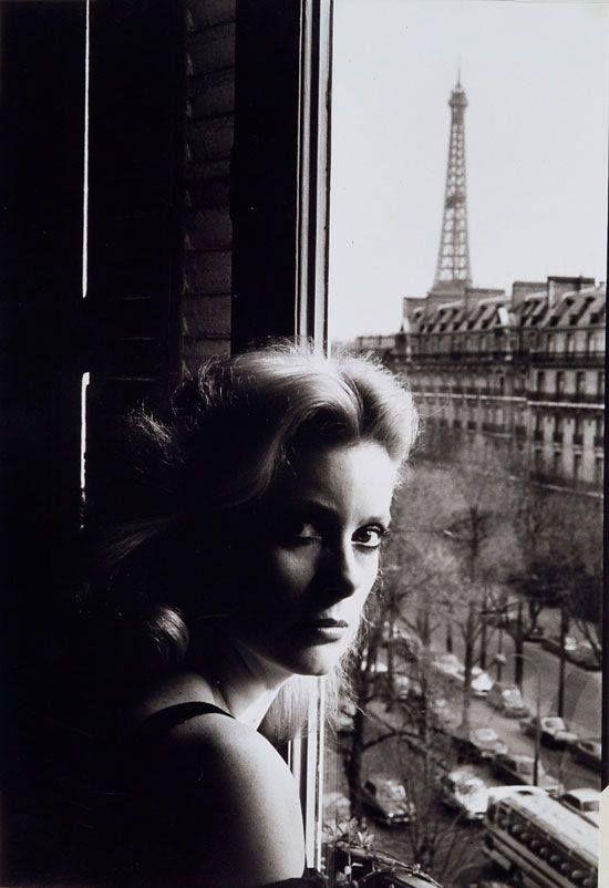 Catherine Deneuve, 1975. #EresInspired #CatherineDeneuve #Parisian #Lingerie #FW15 #BlackandWhite #TowerEiffel #Paris