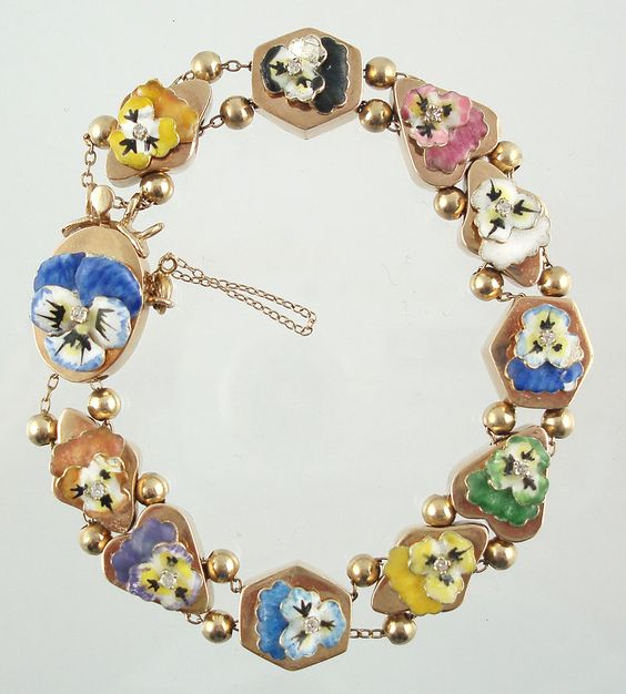 Slide Charms For Bracelets: 14k Gold And Enamel Slide Bracelet