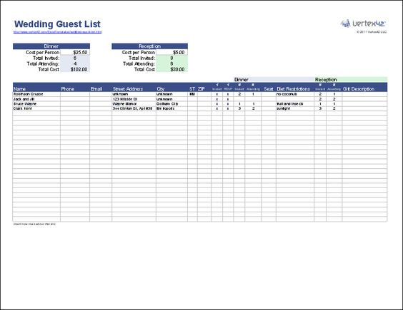 Create a Wedding Guest List Template for Excel to track wedding - printable wedding guest list template