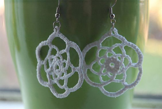 Crochet Earrings, Flickr. Maybe use starch to stiffen?