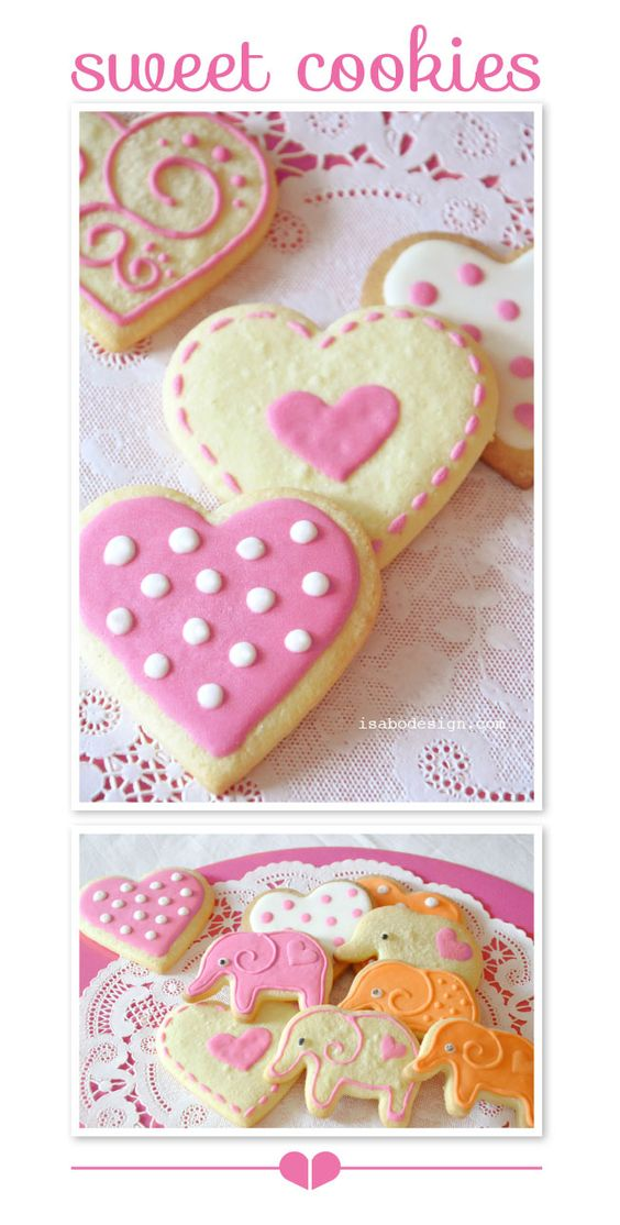 isabo, decorated cookies, biscotti decorati, elephants and hearts