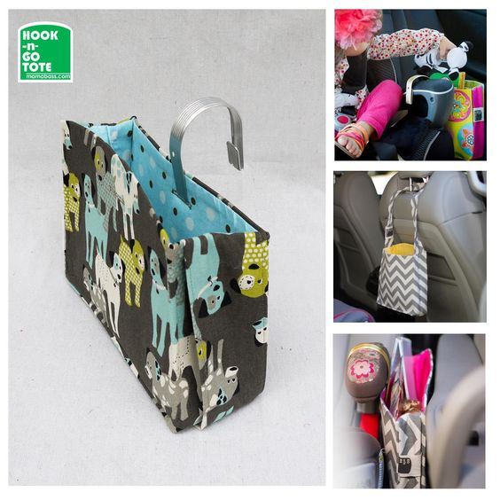 HOOK Handle TOTE with Attached Strap. Exclusively Designed & USA made. Car Organizer. Dogs-Grey-Turquoise-Green-Polka Dot fabric by MamaBassLLC on Etsy