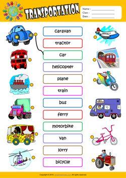 Worksheets Exercise Worksheets For Kids transportation esl matching exercise worksheet for kids mau hinh kids