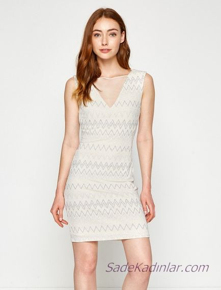 Koton Beyaz Elbise Modelleri Kisa Kolsuz Transparan V Yaka Zigzag Desenli Elbise Modelleri Elbise The Dress