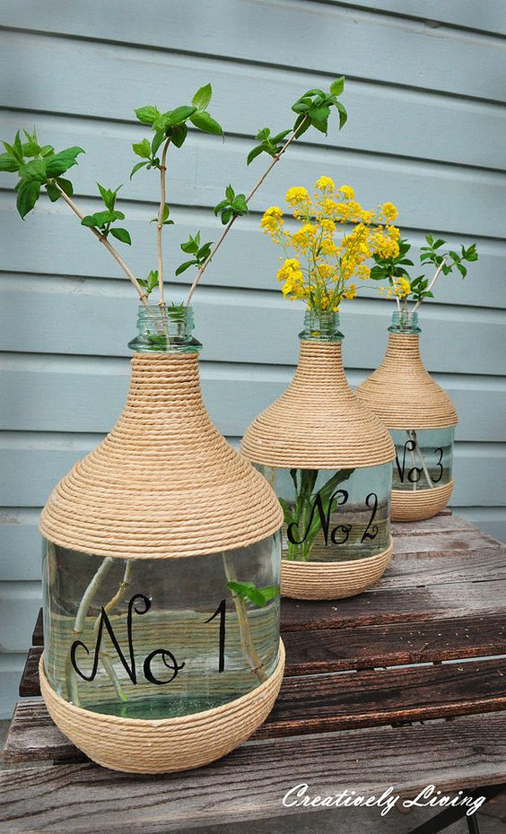 Hometalk | Wine Jugs and Jute: