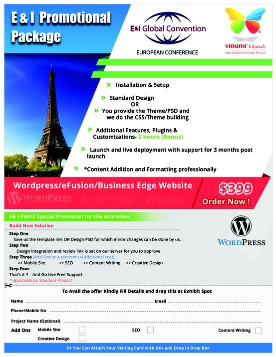 As part of our promotional package for the 2013 E conference in Paris, Vidushi Infotech  gives you a WordPress/Efusion/Business Edge website with full features, plugins and customization options for just $399. With 3 months of live support post launch and full installation and setup done by us, you won't get a better offer elswhere.
