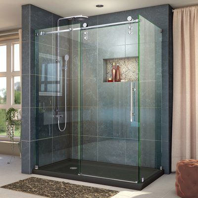 Dreamline Enigma Z 48 38 W X 34 5 D Fully Frameless Sliding Shower Enclosure Corner Shower Enclosures Frameless Shower Enclosures Steel Shower Door