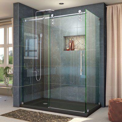 Dreamline Enigma Z 48 38 W X 34 5 D Fully Frameless Sliding Shower Enclosure Corner Shower Enclosures Frameless Shower Enclosures Steel Shower Door