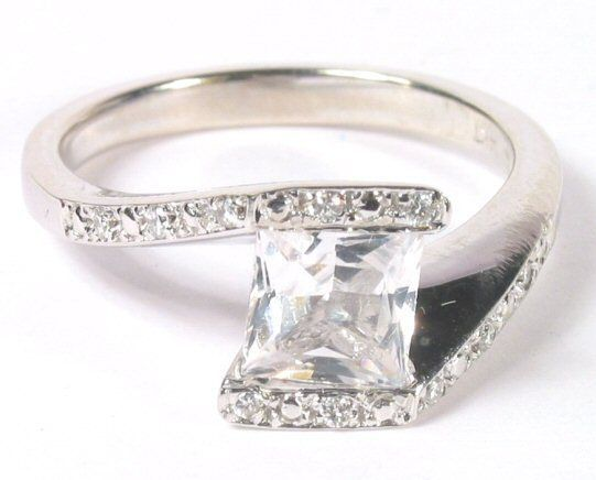 "$650.  Good quality diamonds andnover1""one of kind'    White Sapphire & Diamond Ring 14K W/G"