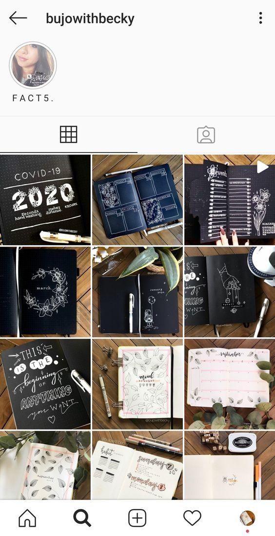 20 comptes Instagram à suivre pour votre Bullet Journal : @bujowithbecky