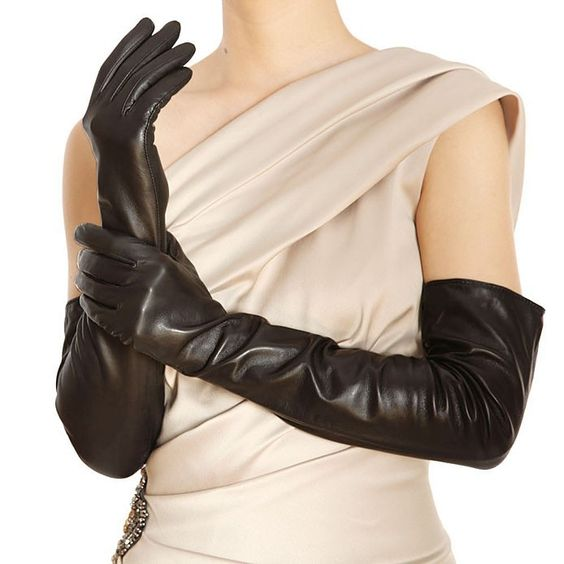 Fashion Sale Women Leather Gloves Solid Black Genuine Real Lambskin Glove Opera 50cm Long For Dressing Free Shipping L080nn-in Gloves & Mittens from Women's Clothing & Accessories on Aliexpress.com | Alibaba Group