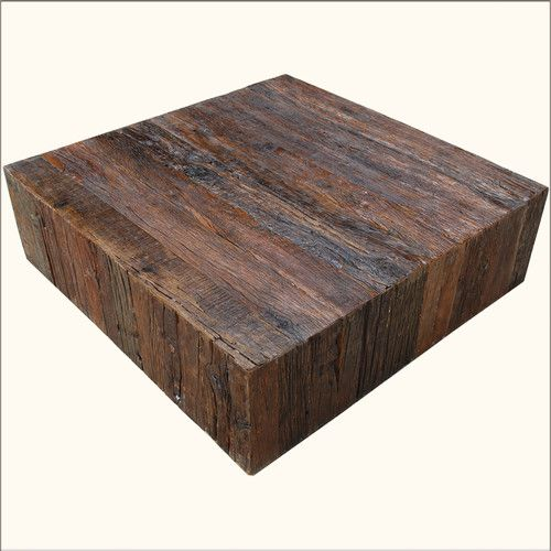 Rustic Railroad Ties Reclaimed Wood Square Sofa Cocktail Coffee Table Furniture Pinterest