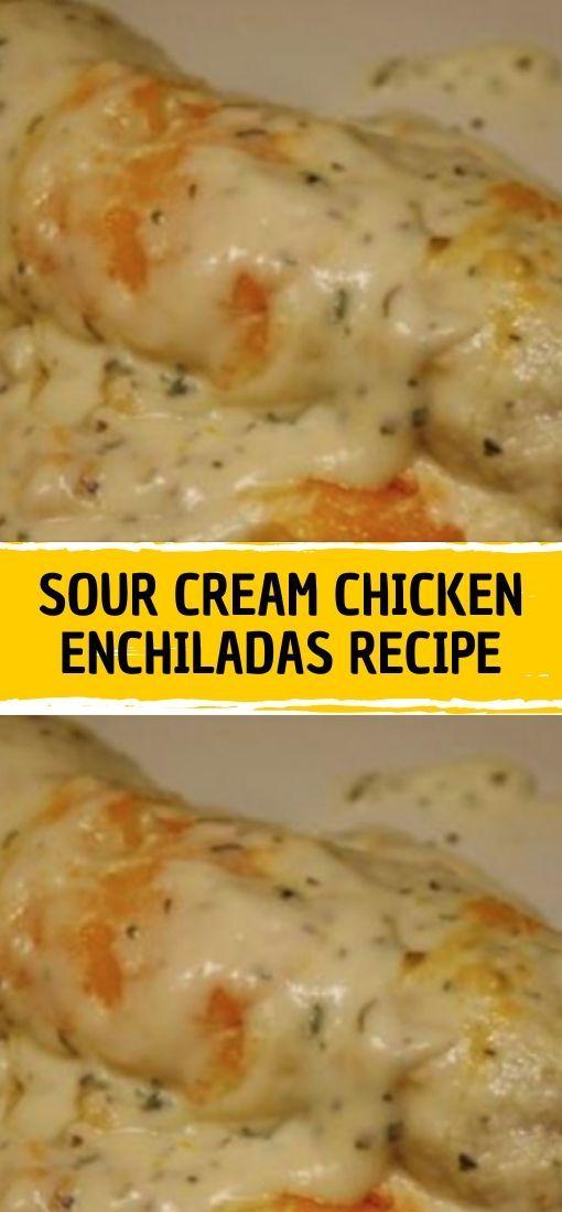 Ingredients 16 Oz Sour Cream 1 Can Cream Of Chicken Soup 1 Tbls Fresh Chopp In 2020 Sour Cream Chicken Sour Cream Chicken Enchilada Recipe Enchilada Recipes