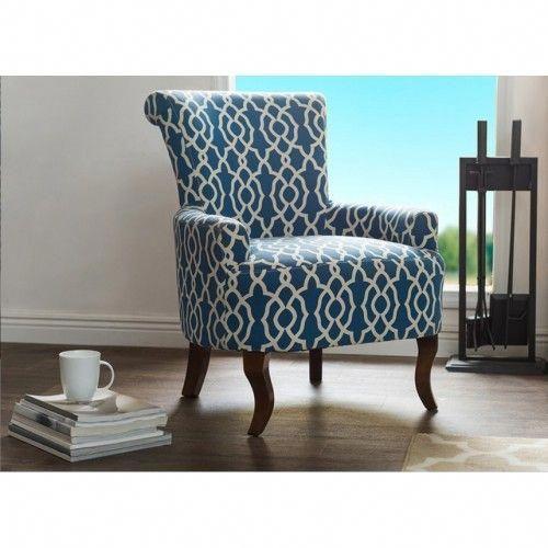 Blue White Quatrefoil Print Style Armchair Vintagechair